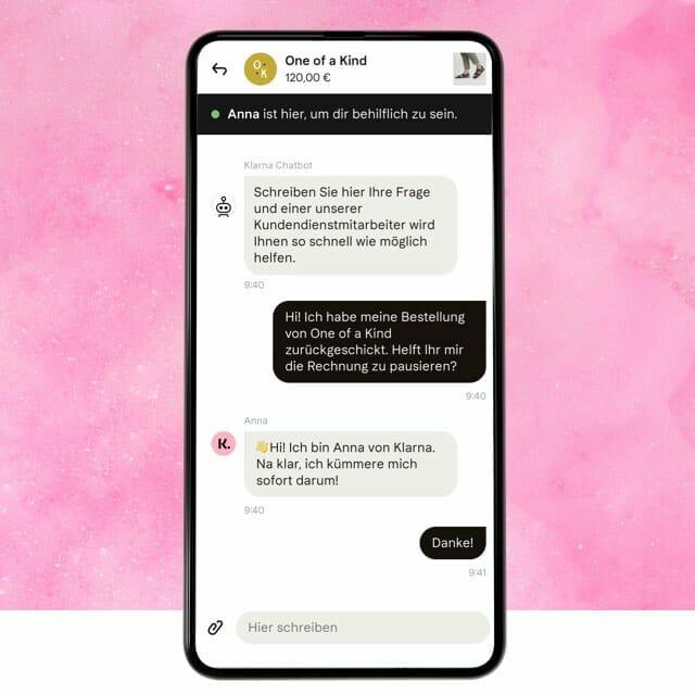 Klarna shopping app chat