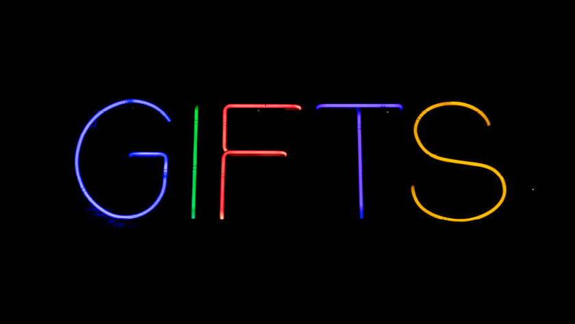 Gifts neon letters afbeelding