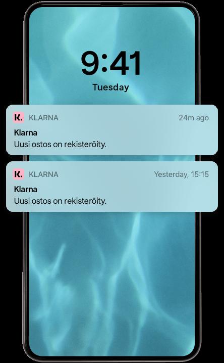 Matkapuhelimen näytöllä Klarna-apin push-ilmoituksia