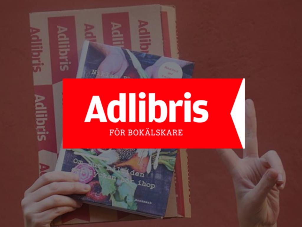 Adlibris logo kirjan päällä