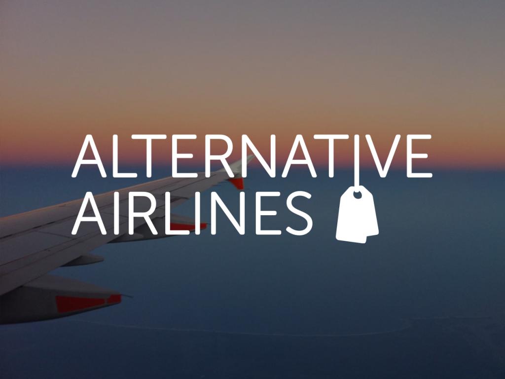 Lentokoneen siipi taivaalla päällä valkoinen alternative airlines logo