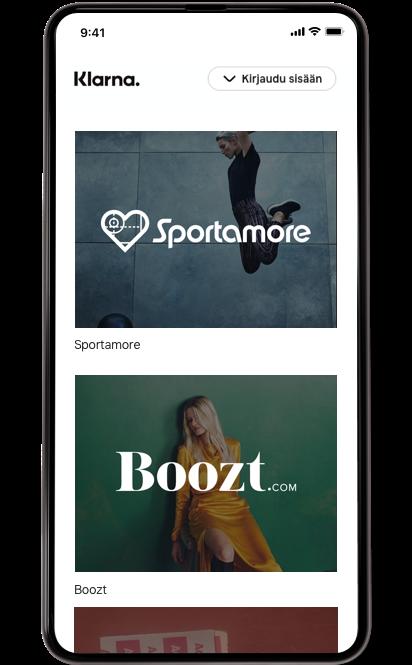 Matkapuhelimen näytöllä Sportamoren ja Boozt.comin logot