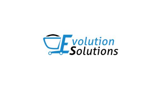 Musta vaaleansininen Evolution Solutions logo