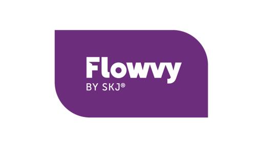 Liila valkoinen Flowy by skj logo