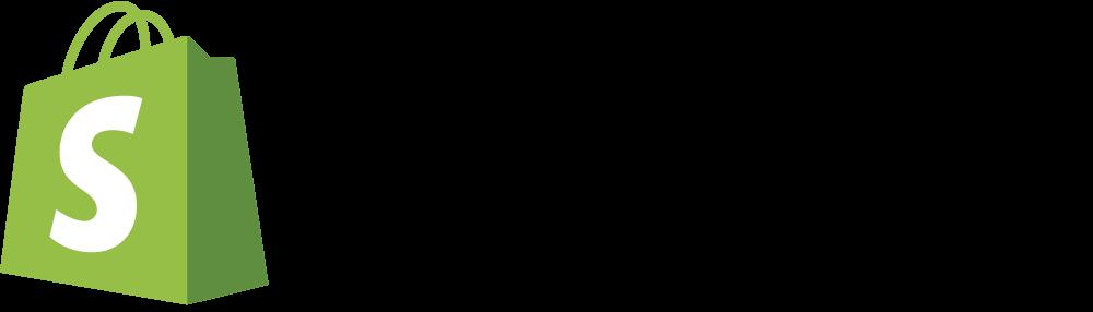 Vihreä musta Shopify logo