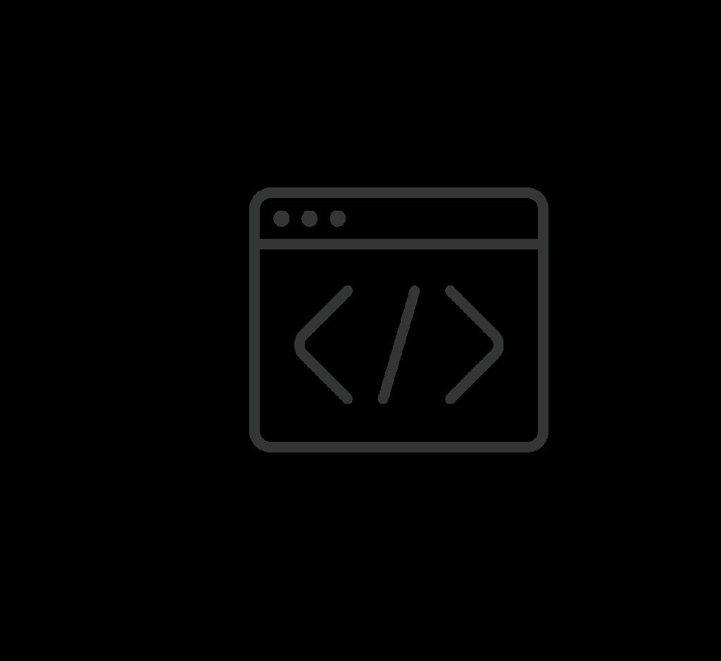 Musta logo jossa koodia