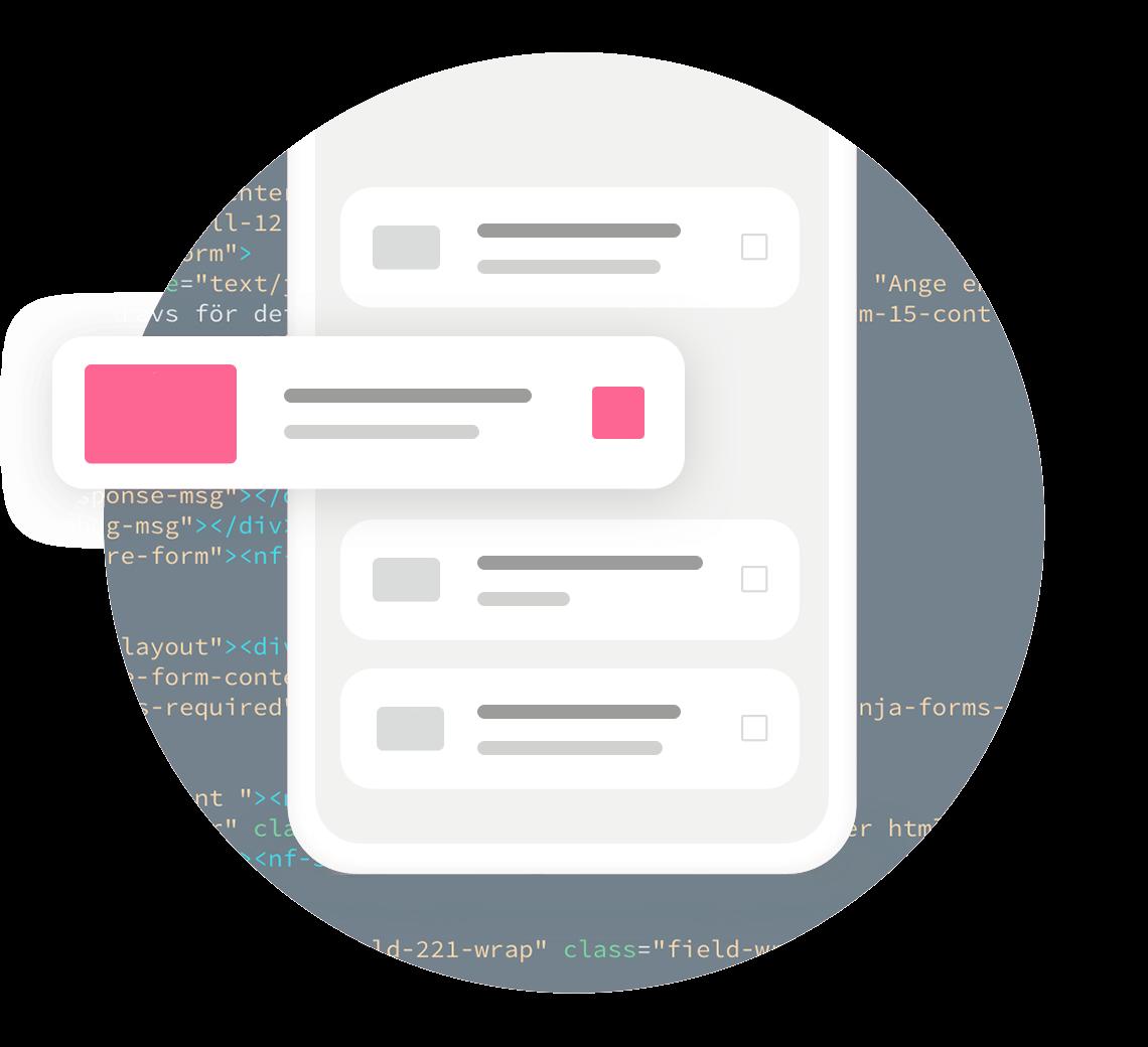 Taustalla HTML koodia edessä pelkistetty matkapuhelin